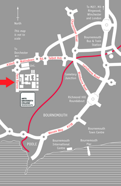 Map showing location of The Arts Institute at Bournemouth